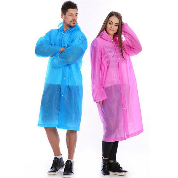 Men Women EVA Raincoat 2019 Fashion Transparent Portable Outdoor Travel Rainwear Waterproof Hooded Ponchos Plastic Rain Cover