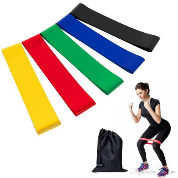best selling 5PCS Set Resistance Band fitness 5 Levels Latex Gym Strength Training Rubber Loops Bands Fitness Equipment Sports yoga belt Toys with bag