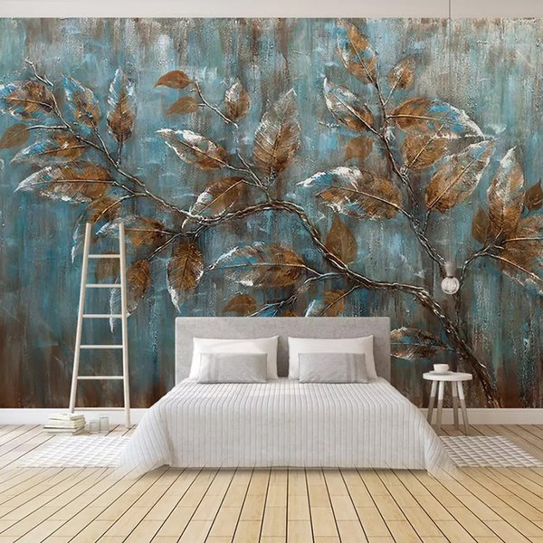 Custom Mural Wallpaper For Bedroom European Style Oil Painting Tree Leaves Art Background Wall Living Room Decoration Painting
