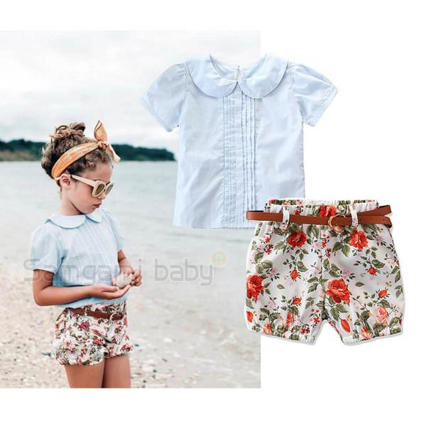 Ins Summer neue Mädchen Outfits niedliche Kinder Sets Kinder Anzug Tops Bluse + Gürtel + Shorts Mode Mädchen Kleidung Kinder Designer Kleidung A4453