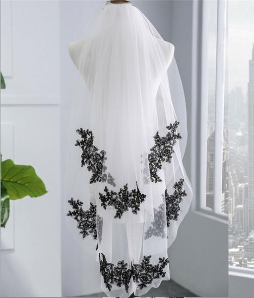 Tarak ile Gelin Veil Gotik Siyah Dantel Aplike Çift Veil Düğün
