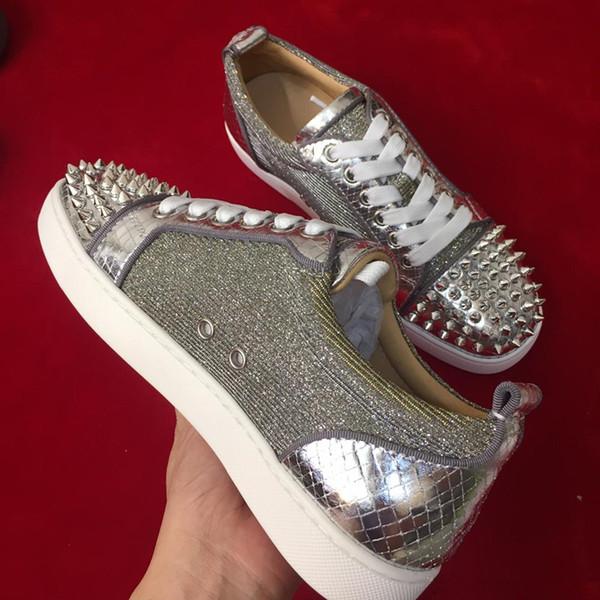 2019 zapatillas de deporte de lujo para hombre Zapatillas de cordones con zapatos Zapatos inferiores rojos de primera calidad GRIS NUEVO Diseñador de marca Pisos casuales Cuero genuino