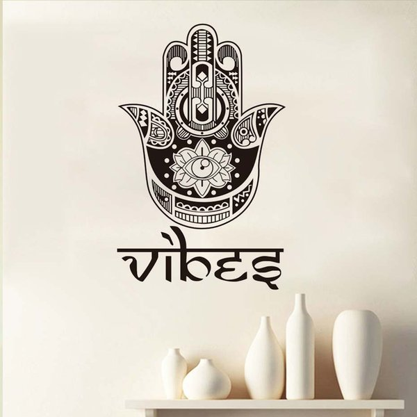 1 Pcs Pray For Health Symbol Lotus Eye Hamsa Hand Wall Sticker Home Decor Vinyl Removable bedroom Adhesive Decals High Quality