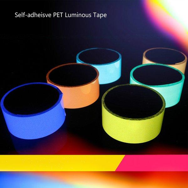 top popular 10m Long Luminous Sicker self-luminous tape fluorescent light storage self-luminous tape PET Self-adhesive Tape 2021