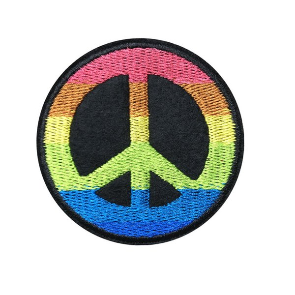 best selling 6CM Embroidered Patch Rainbow Peace Love Sewing Iron On Patches Badge For Bag Jeans Hat Appliques DIY Sticker Decoration Apparel Accessories
