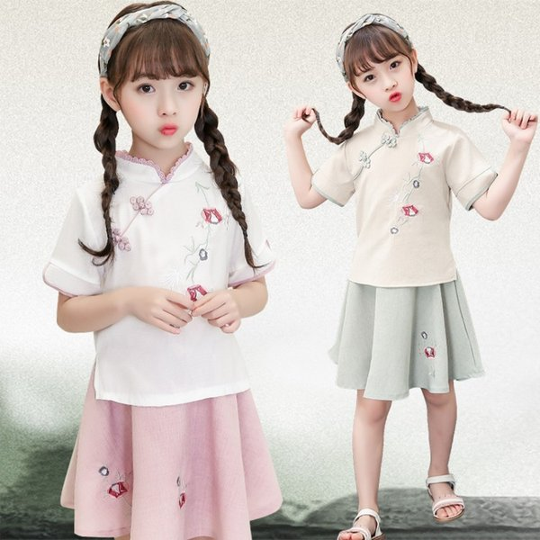 Girls New Qipao Hanfu Skirt Summer New Tang suit Chinese style children's dress girls two-piece suit