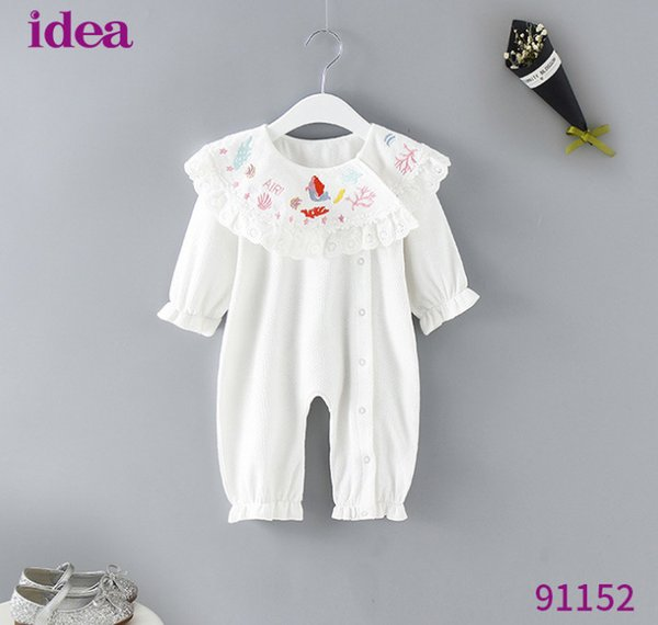 2019 Spring Infant kids romper baby girls letter star mermaid embroidery jumpsuits baby falbala capes flare sleeve climb clothing F3040