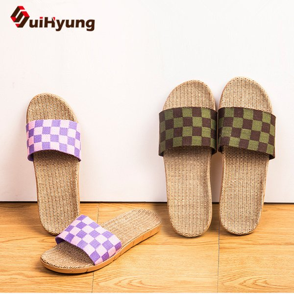 Suihyung Linen Slippers Women Summer Indoor Home Floor Shoes Breathable Flax Checkered Open Toe Slippers Anti-slip Zapatos Mujer