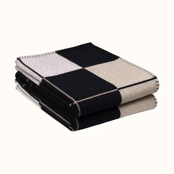 #2-High Quality New arrival 170*140cm Blanket wool 800g H pattern Blanket Home 5 colors Blankets Sofa Winter Blankets
