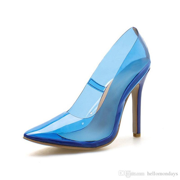 Kadınlar Sivri Burun Şeffaf Yavru Topuklu Lucite Temizle Elbise Sandalet Stiletto Pompaları