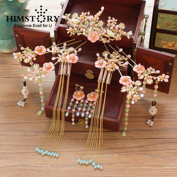 HIMSTORY Orient Traje Chinês Pente de Cabelo Pente de Cabelo Chinês Clássico Princesa Rosa Shell Flor Acessórios Para o Cabelo Da Noiva C19010501