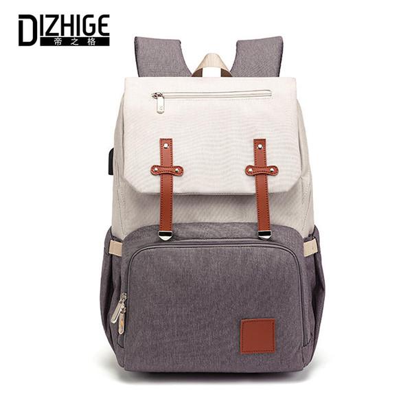 DIZHIGE Новая мода С USB Мумия папа Пеленки сумка Pure Большие Водонепроницаемые Кормящие дорожные сумки Рюкзаки Коляска Уход подгузник сумка