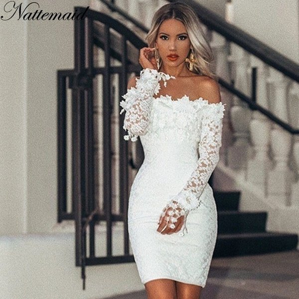Nattemaid Hollow Out Floral White Lace Dresses Off Shoulder Strapless Mini Sexy Dress Women Pencil Bodycon Party Dress Vestidos MX190727