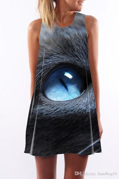 Женское платье Лето с круглым вырезом Слинг без рукавов Hip Elegant Lady Cat eye с цифровой печатью юбка с принтом Повседневные платья-карандаши Размер S-XL