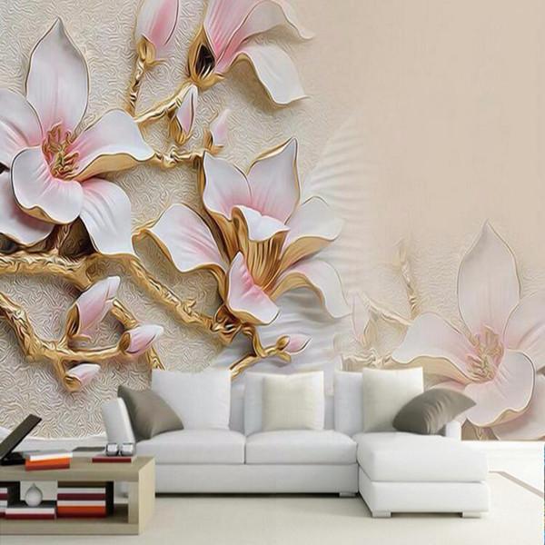 Carta da parati in 3D HD Magnolia fiori in rilievo Foto murale Salotto Home Decor Carta da parati Moderna Abstract Papel De Parede Floral 3D