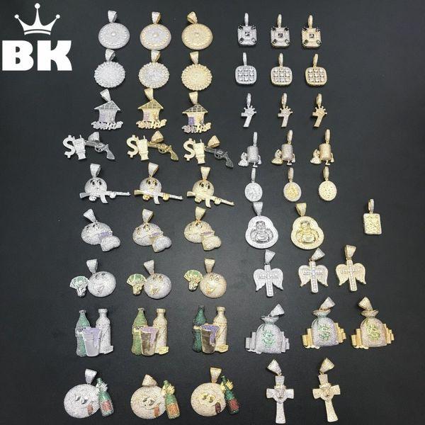 THE BLING KING 20 estilos Emoji Money Plug Gun Dollar Bottle Religiosa Cruz león Buda Micrófono Trampa Casa Colgante