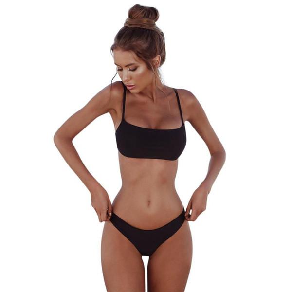 Lencería sexy Bikini Deporte Traje de baño Mujer Sólido Brasileño Verano Traje de baño Patchwork Traje de baño de sexo femenino Conjunto de bikini