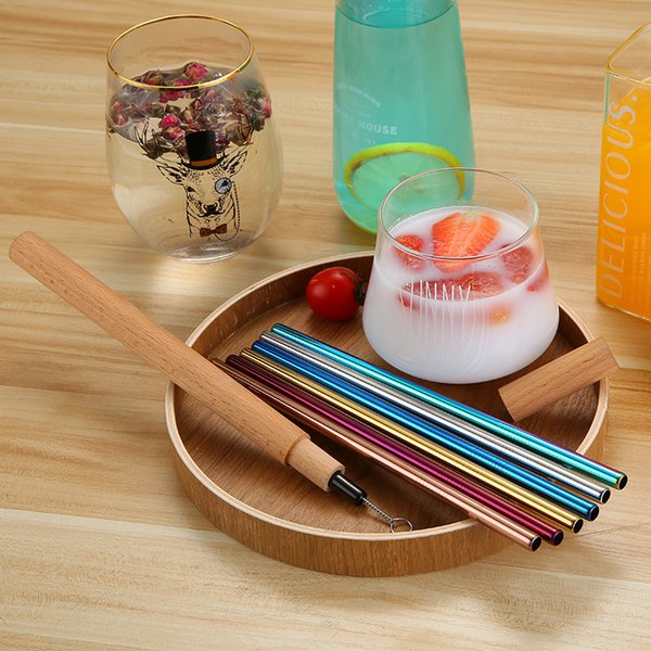 6pcs/Lot Stainless Steel Straws With Brush And Wooden Box Colorful Reusable Drinking Straws Kitchen Bar Drinking Tools 2 Lots ePacket
