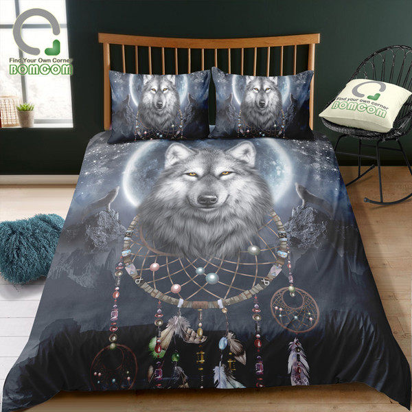 BOMCOM Digital Printing Bedding Set Wolf Dream Catcher Monument Valley Big  Moon Utah & Arizona USA Duvet Cover 100% Microfiber Chenille Bedding ...