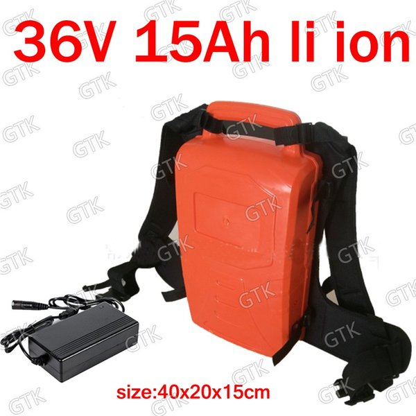 GTK portable 36v 15Ah lithium ion battery 15Ah li ion for 300W 350w Lawn trimmer Pruning machine Grass mower blower + 3A charger