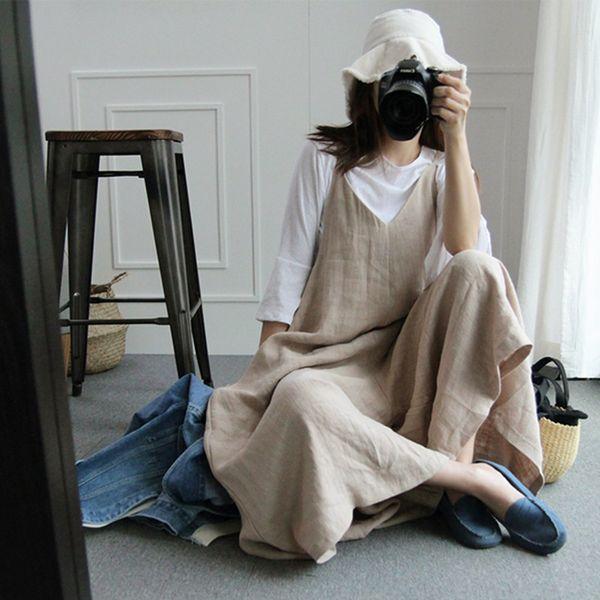 2019 Summer Preppy Style Lady Rompers Cotton Linen Women Vintage Jumpsuits Mori V-neck Vintage Overalls Playsuits Long Pants Df8 Y19060501