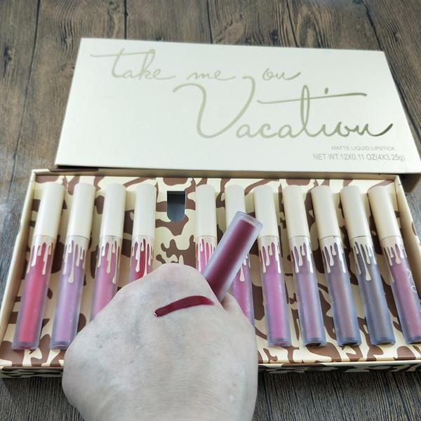 el maquillaje caliente de alta calidad de color de moda 12 / set brillo de labios mate impermeable edición brillo de labios envío libre de DHL