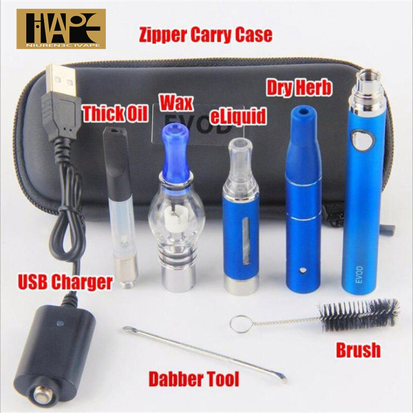Newest 4 in 1 Evod Mini Vape Starter Kits 510 Thread battery E cigarette Multi Vaporizer eGo MT3 CE3 ce4 Vape Pen dry herb tank Atomizer