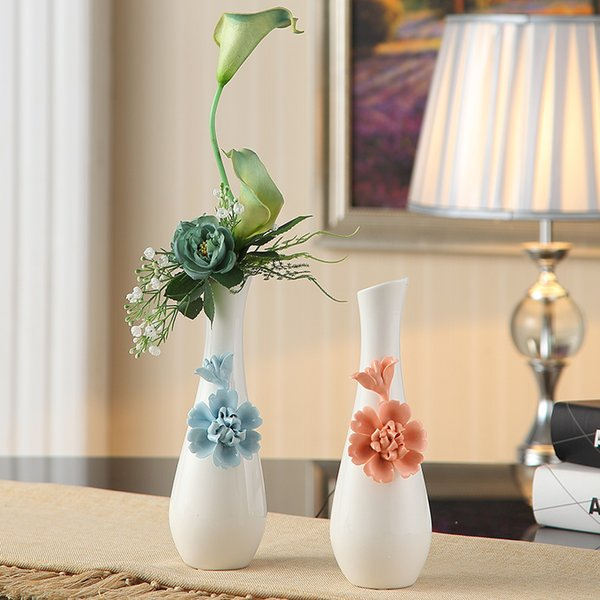 European blue rose pinch ceramic vase home decor craft room decoration flower arrangement modern white porcelain vase handicraft
