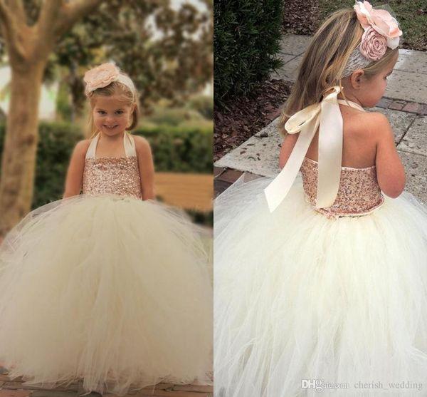 Ivory Flower Girl Dresses Rose Gold Sequin Halter Tutu Floor Length Ball Gown Custom Made Little Girls Pageant Dresses First Communion Dress