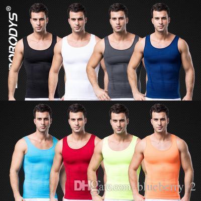 Slim Incredible Mens Bodysuit Weste Retail Absorbant Underwear Men Body Shaper V-förmigen Pull Back Correct Posture Vest