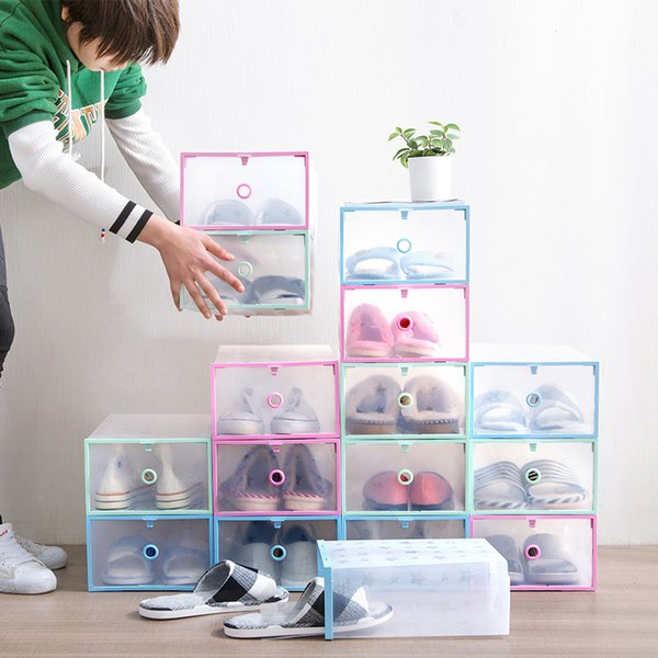 5PCS Household transparent shoe box plastic loaded shoes storage box dormitory simple combination shoe storage