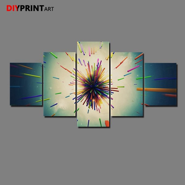 Abstract The Explosion Line 5 Panels Wall Painting Picture for Living Room Home Decoration A1404