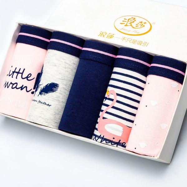 Langsha 5pcs/lot Cotton Panties Women Underwear Sexy Briefs Seamless Cute Print Briefs Soft Comfort Plus Sizexxl Girls Lingeries T3190601
