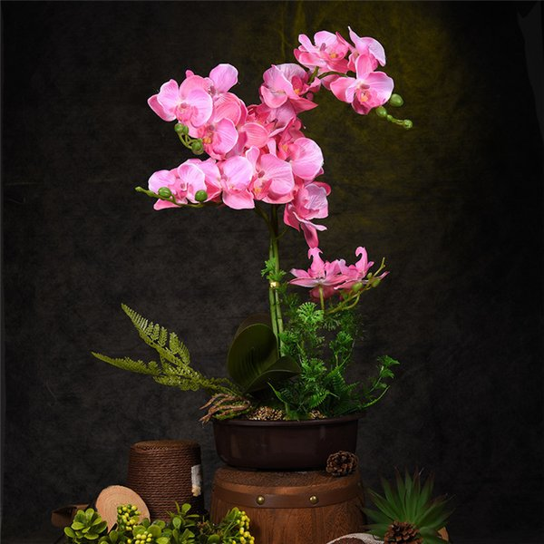 Creative Artificial Flower Plant Potted Bonsai Gift Fake Butterfly Orchid Flowers Plants For Wedding Home Decor Free Shipping Y19061103