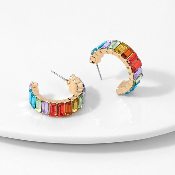 top popular Rainbow Rhinestone Hoop Earrings for Women Girls Colorful Crystal Huggie Earrings Fashion Jewelry Dazzling Circle Earrings 2021