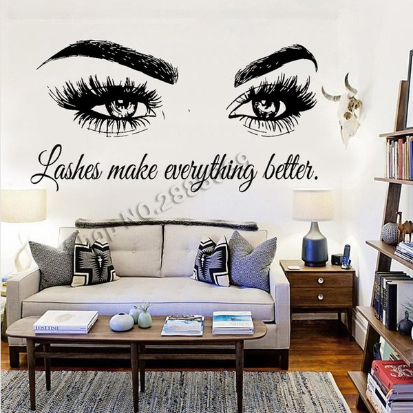 Lashes make everything better,Art Beauty Salon Quote Wall Stickers Home Decor Vinyl Murals Fashion Eyelashes Wall Decals
