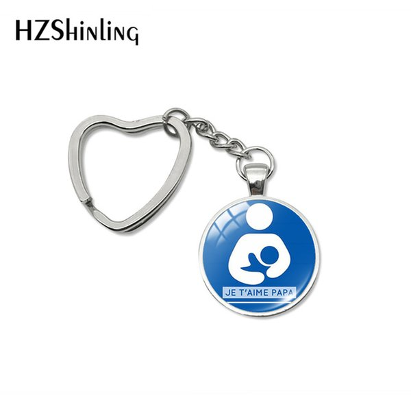 2019 New Fashion Happy Father's Day Heart Keychains Je t'aime PAPA Words Glass Cabochon Key Fob for Fathers PAPA Gifts