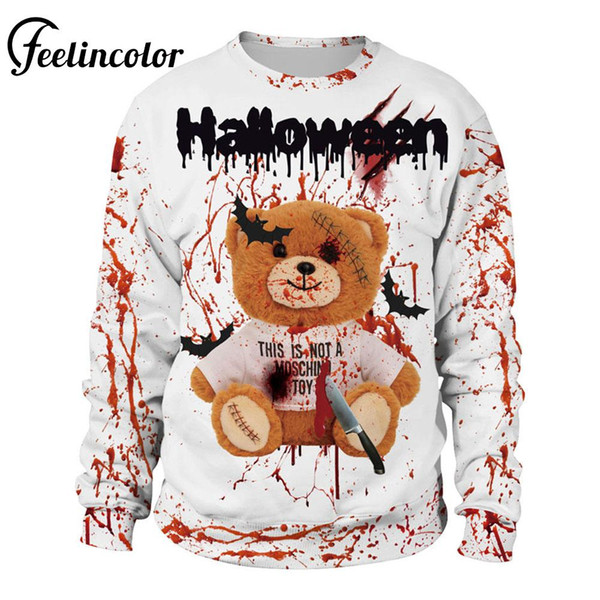Puppy bear Costumes men Sweatshirts Casual Coat Clothes Hoodie Autumn Fashion Halloween Blood stained white Costumes Adult Men