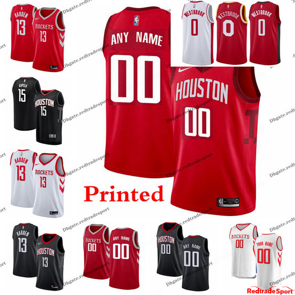 separation shoes 87c74 9d57f 2019 2019 Printed HoustonRockets Earned James Harden 13 Russell Westbrook  Clint Capela Gordon Gerald Green Tucker Rivers Basketball Jersey From ...