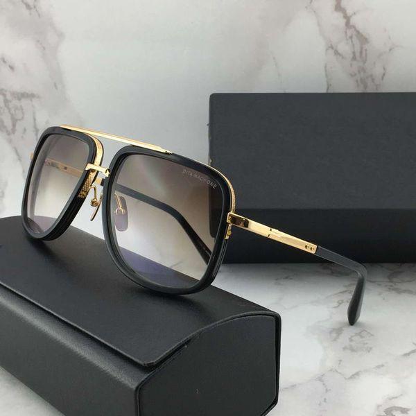Luxury-Vintage Square Pilot Sunglasses Gold/Brown Gradient Sonnenbrile Fashion Men Designer Sunglasses Glasses New with Box