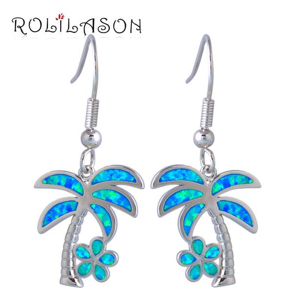 Dangle Earrings ROLILASON Perfect Sterling Silver Overlay jewelry fashion coconut tree Blue Opal Drop dangle for women OE578