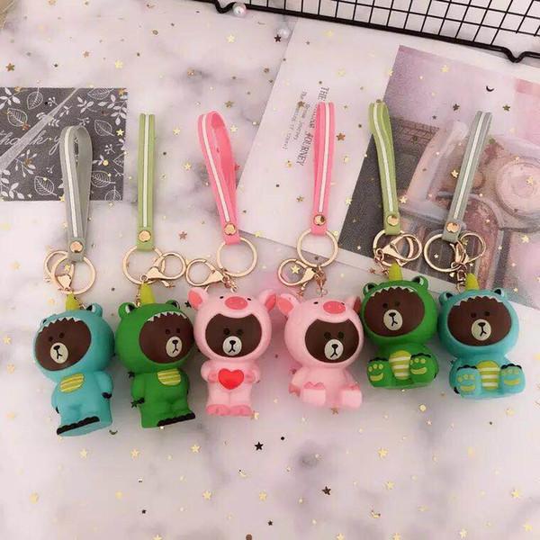 Cute vivid delicate transforming bear key chain practical creative gifts couple schoolbag pendant car key chain