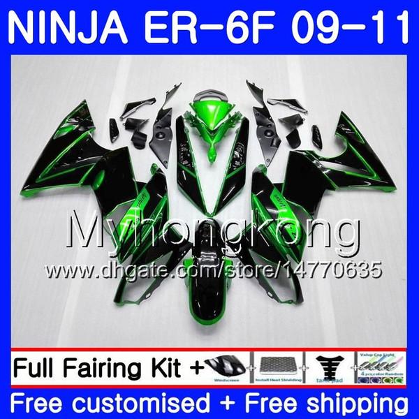 Body For KAWASAKI NINJA 650R ER-6F ninja650 ER6F 09 10 11 252HM.1 Ninja650R Green black stock ER6 F ER 6F 2009 2010 2011 Fairings Kit+7Gifts