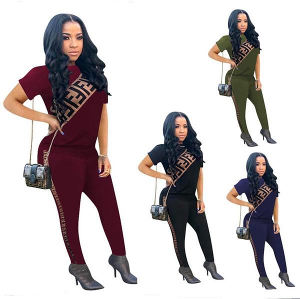2019 Brand Designer Women Tracksuit F letter Print 2pcs Set Short Sleeve T Shirts Tops + Leggings Pants Sport Suit Outdoor Brand Outfit A341