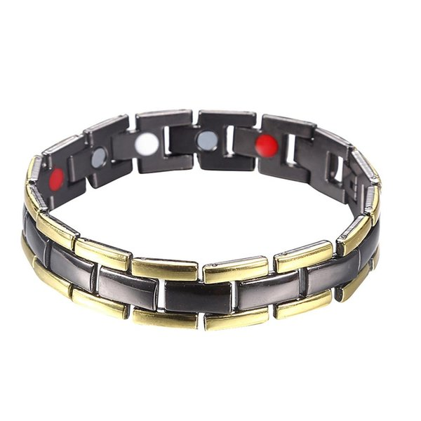 Fashion Men Dual Color Magnetic Energy Therapy Health Care Chain Bracelet Bangle