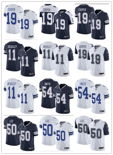 Hombres Mujeres Juveniles #Dallas # 19 Amari Cooper 11 Cole Beasley 54 Jaylon Smith 50 Sean Lee Custom Black Re Camisetas de fútbol Vaqueros