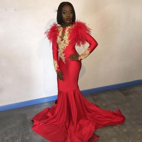 Charming Feather Red Prom Dresses 2019 South African Long Sleeves Mermaid Evening Gowns Gold Lace Appliques Sweep Train Cocktail Party Dress