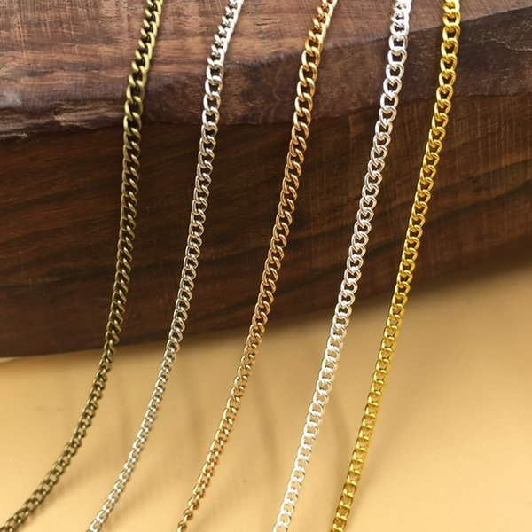100M 1.5MM fringed long bulk roll Necklace Chains Rhodium/Silver/KC Gold/Gunblack/Antique Bronze Color link Chain for DIY Jewelry Making