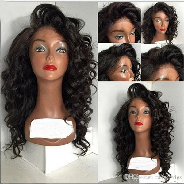 """Cheap Glueless Lace Front Human Hair Wigs Virgin Brazilian Loose Curly Wavy Wigs 10-26"""" In Stock Glueless Full Lace Wigs For africa american"""