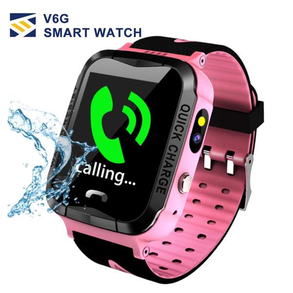 V6G Crianças Relógio Inteligente Ip67 À Prova D 'Água GPS Tracker SOS Chamada Câmera de rastreamento de posicionamento móvel inteligente relógios para o Miúdo Criança